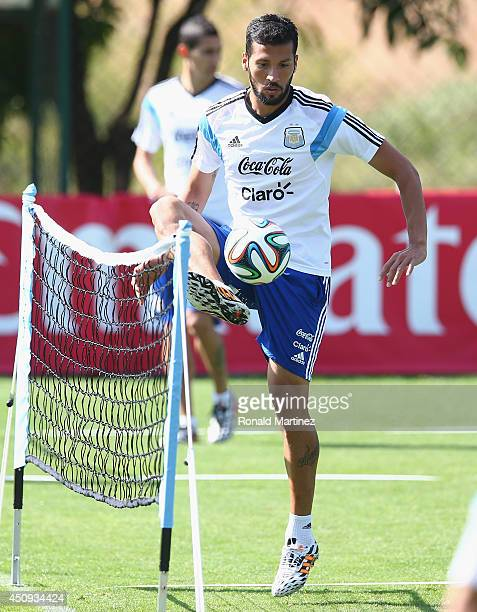 Ezequiel Garay of Argentina during a training session at Cidade do Galo on June 20 2014 in Vespasiano Brazil