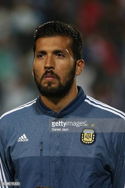Ezequiel Garay of Argentina looks on during the national anthem ceremony prior the 2015 Copa America Chile quarter final match between Argentina and...