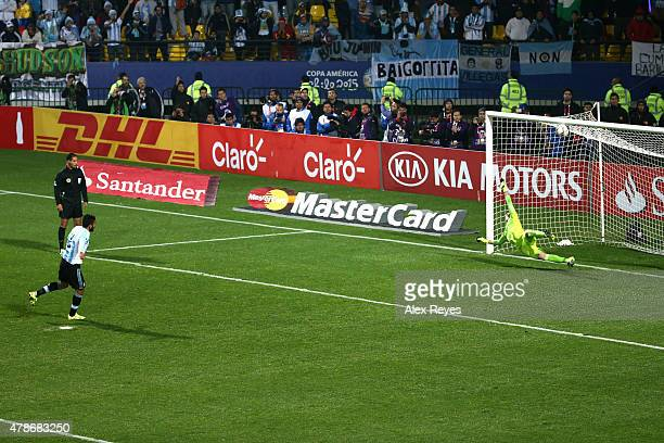 Ezequiel Garay of Argentina takes the second penalty kick in the penalty shootout during the 2015 Copa America Chile quarter final match between...