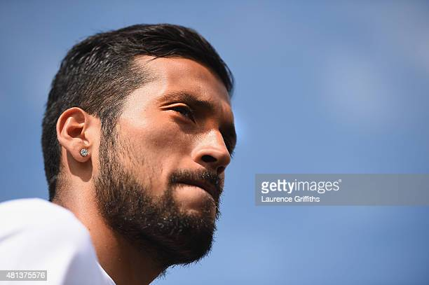 Ezequiel Garay of FC Zenit Saint Petersburg speaks to the media during a press conference at the Zenit Training Centre during a media tour of Russia...
