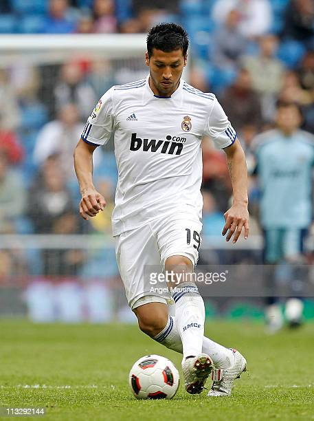Ezequiel Garay of Real Madrid in action during the La Liga match between Real Madrid and Real Zaragoza at Estadio Santiago Bernabeu on April 30 2011...