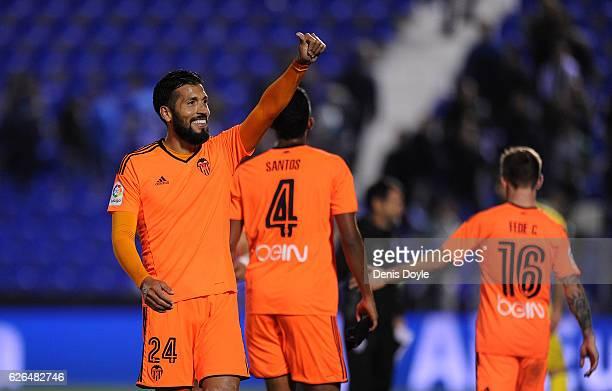Ezequiel Garay of Valencia CF celebrates after Valencia beat Leganes 31 in the Copa del Rey Round of 32 match between CD Leganes and Valencia CF at...