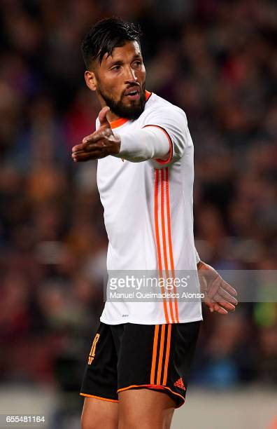Ezequiel Garay of Valencia reacts during the La Liga match between FC Barcelona and Valencia CF at Camp Nou Stadium on March 19 2017 in Barcelona...