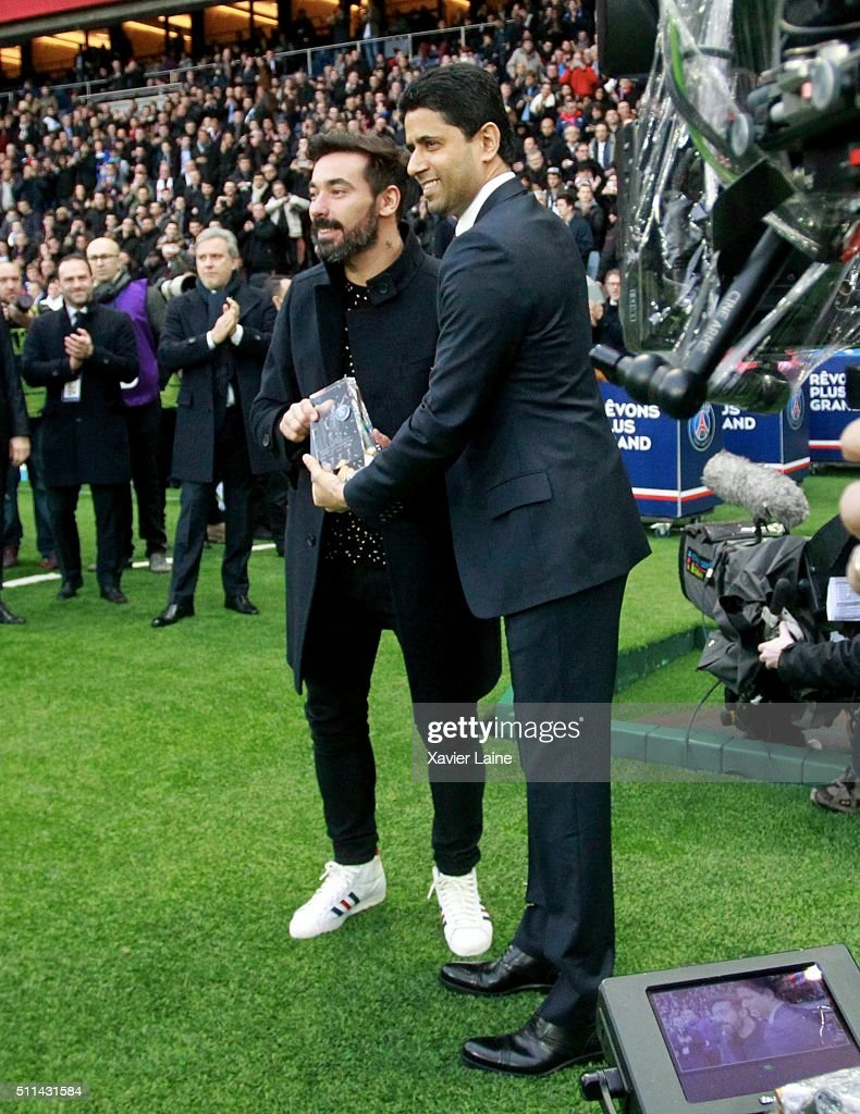 Ezequiel Lavazzi of Paris Saint-Germain react for his last game with president <a gi-track='captionPersonalityLinkClicked' href=/galleries/search?phrase=Nasser+Al-Khelaifi&family=editorial&specificpeople=7941556 ng-click='$event.stopPropagation()'>Nasser Al-Khelaifi</a> before the French Ligue 1 between Paris Saint-Germain and Stade de Reims at Parc Des Princes on february 20, 2016 in Paris, France.
