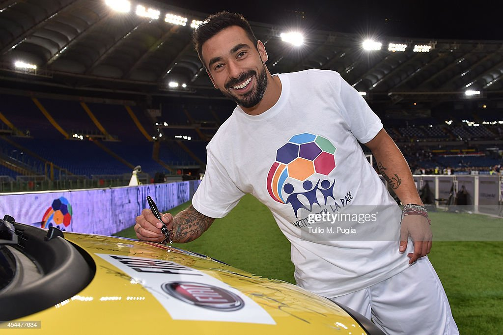 <a gi-track='captionPersonalityLinkClicked' href=/galleries/search?phrase=Ezequiel+Lavezzi&family=editorial&specificpeople=5451126 ng-click='$event.stopPropagation()'>Ezequiel Lavezzi</a> attends the Interreligious Match For Peace at Olimpico Stadium on September 1, 2014 in Rome, Italy.