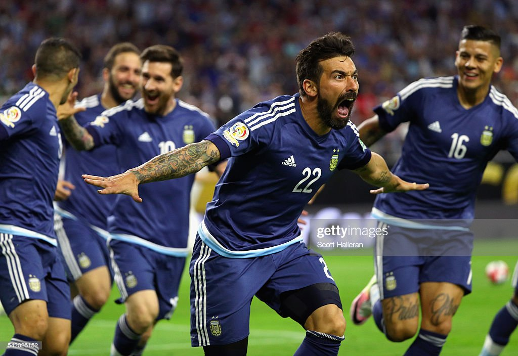 Ezequiel Lavezzi of Argentina celebrates scoring a first half goal against the United States during a 2016 Copa America Centenario Semifinal match at...