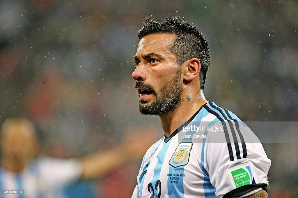Ezequiel Lavezzi of Argentina looks on during the 2014 FIFA World Cup Brazil Semi Final match between Netherlands and Argentina at Arena de Sao Paulo...