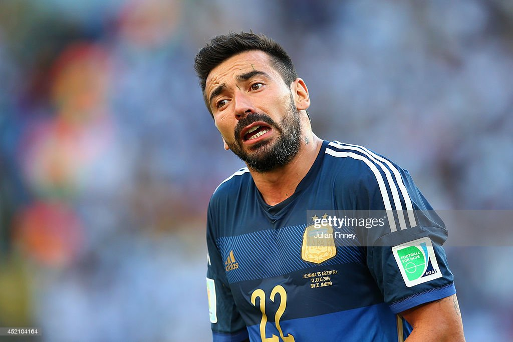 <a gi-track='captionPersonalityLinkClicked' href=/galleries/search?phrase=Ezequiel+Lavezzi&family=editorial&specificpeople=5451126 ng-click='$event.stopPropagation()'>Ezequiel Lavezzi</a> of Argentina looks on during the 2014 FIFA World Cup Brazil Final match between Germany and Argentina at Maracana on July 13, 2014 in Rio de Janeiro, Brazil.