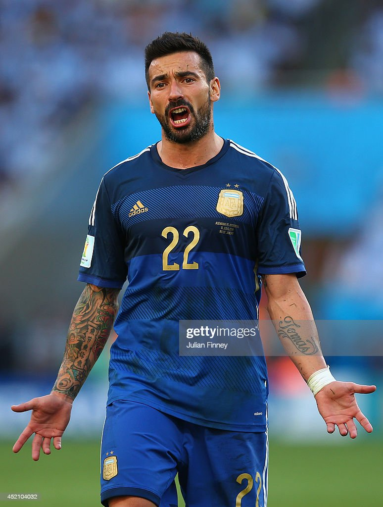 Ezequiel Lavezzi of Argentina reacts during the 2014 FIFA World Cup Brazil Final match between Germany and Argentina at Maracana on July 13 2014 in...