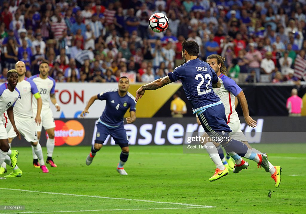 Ezequiel Lavezzi of Argentina scores a first half goal against the United States during a 2016 Copa America Centenario Semifinal match at NRG Stadium...