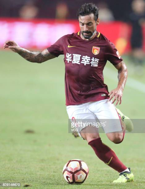 Ezequiel Lavezzi of Hebei China Fortune controls the ball during the 21st round match of 2017 China Super League between Hebei China Fortune FC and...