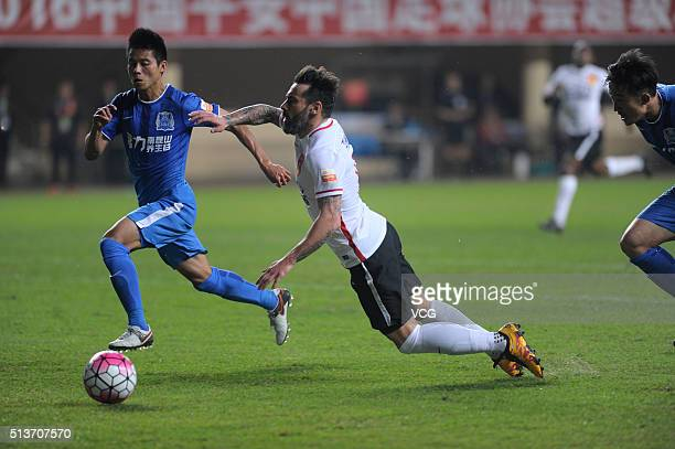 Ezequiel Lavezzi of Hebei China Fortune drives the ball during the Chinese Football Association Super League match between Guangzhou RF and Hebei...