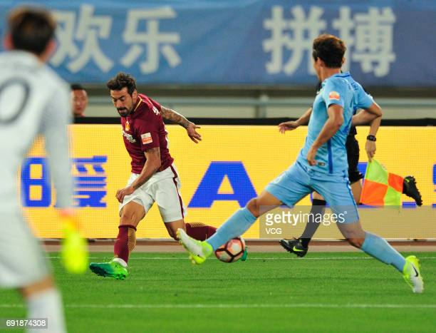 Ezequiel Lavezzi of Hebei China Fortune FC dribbles during the 12th round match of 2017 Chinese Football Association Super League between Jiangsu...