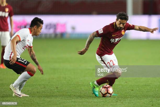 Ezequiel Lavezzi of Hebei China Fortune FC drives the ball during the 10th round match of China Super League between Hebei China Fortune FC and...