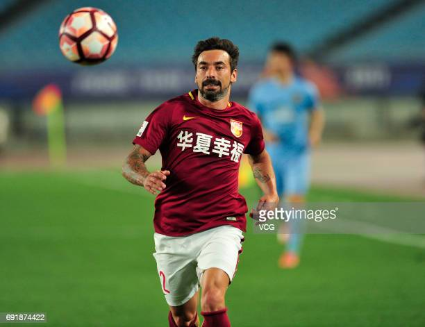 Ezequiel Lavezzi of Hebei China Fortune FC follows the ball during the 12th round match of 2017 Chinese Football Association Super League between...