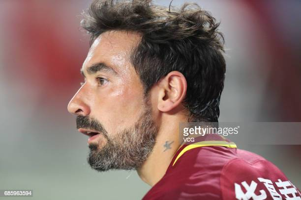 Ezequiel Lavezzi of Hebei China Fortune FC reacts during the 10th round match of China Super League between Hebei China Fortune FC and Liaoning...