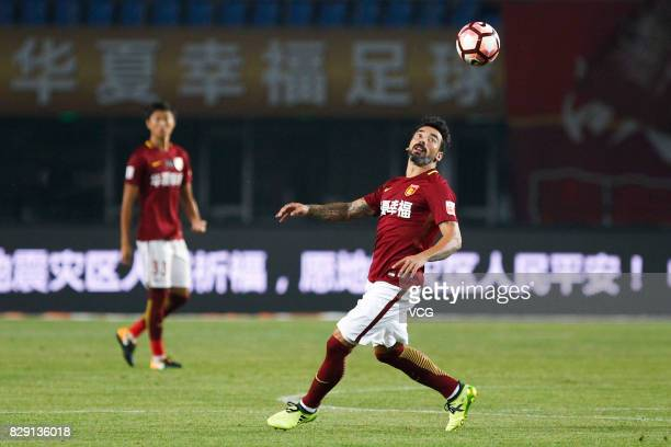 Ezequiel Lavezzi of Hebei China Fortune looks follows the ball during the 21st round match of 2017 China Super League between Hebei China Fortune FC...