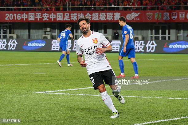 Ezequiel Lavezzi of Hebei China Fortune runs during the round three match of CSL Chinese Football Association Super League between Hebei China...