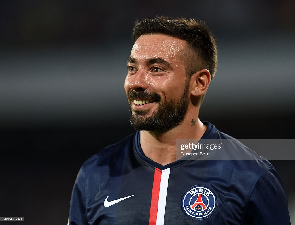 <a gi-track='captionPersonalityLinkClicked' href=/galleries/search?phrase=Ezequiel+Lavezzi&family=editorial&specificpeople=5451126 ng-click='$event.stopPropagation()'>Ezequiel Lavezzi</a> of Paris Saint Germain smiles after the pre-season friendly match between SSC Napoli and Paris Saint-Germain FC at Stadio San Paolo on August 11, 2014 in Naples, Italy.