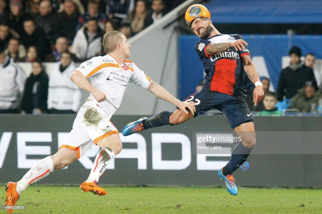 Ezequiel Lavezzi of Paris SaintGermain and Rudy Mater of Valenciennes VAFC in action during the French Ligue 1 between Paris SaintGermain FC and...