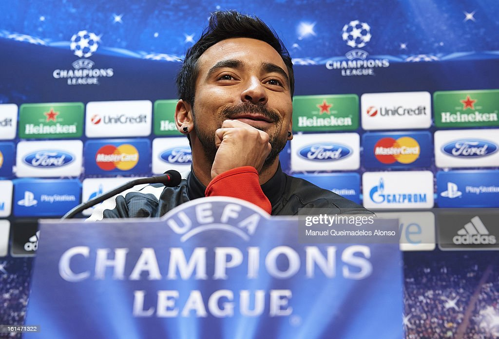 Ezequiel Lavezzi of Paris Saint-Germain attends a press conference ahead of their UEFA Champions League round of 16 match between Valencia CF and Paris St Germain at Estadi de Mestalla on February 11, 2013 in Valencia, Spain.