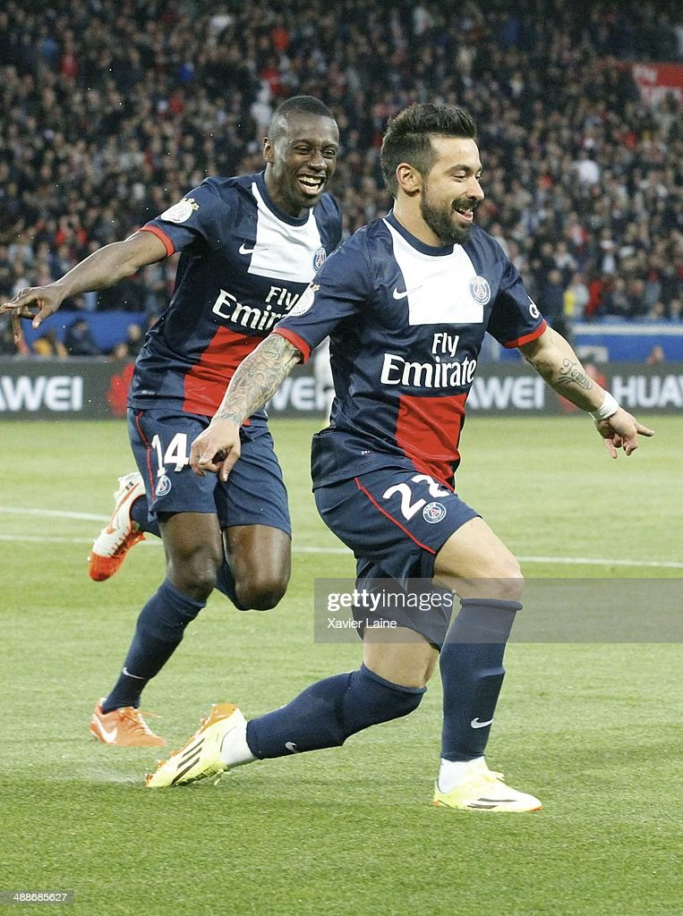 <a gi-track='captionPersonalityLinkClicked' href=/galleries/search?phrase=Ezequiel+Lavezzi&family=editorial&specificpeople=5451126 ng-click='$event.stopPropagation()'>Ezequiel Lavezzi</a> of Paris Saint-Germain celebrates his goal with <a gi-track='captionPersonalityLinkClicked' href=/galleries/search?phrase=Blaise+Matuidi&family=editorial&specificpeople=801779 ng-click='$event.stopPropagation()'>Blaise Matuidi</a> (L) during the French Ligue 1 between Paris Saint-Germain FC and Stade Rennais FC at Parc Des Princes on May 07, 2014 in Paris, France.