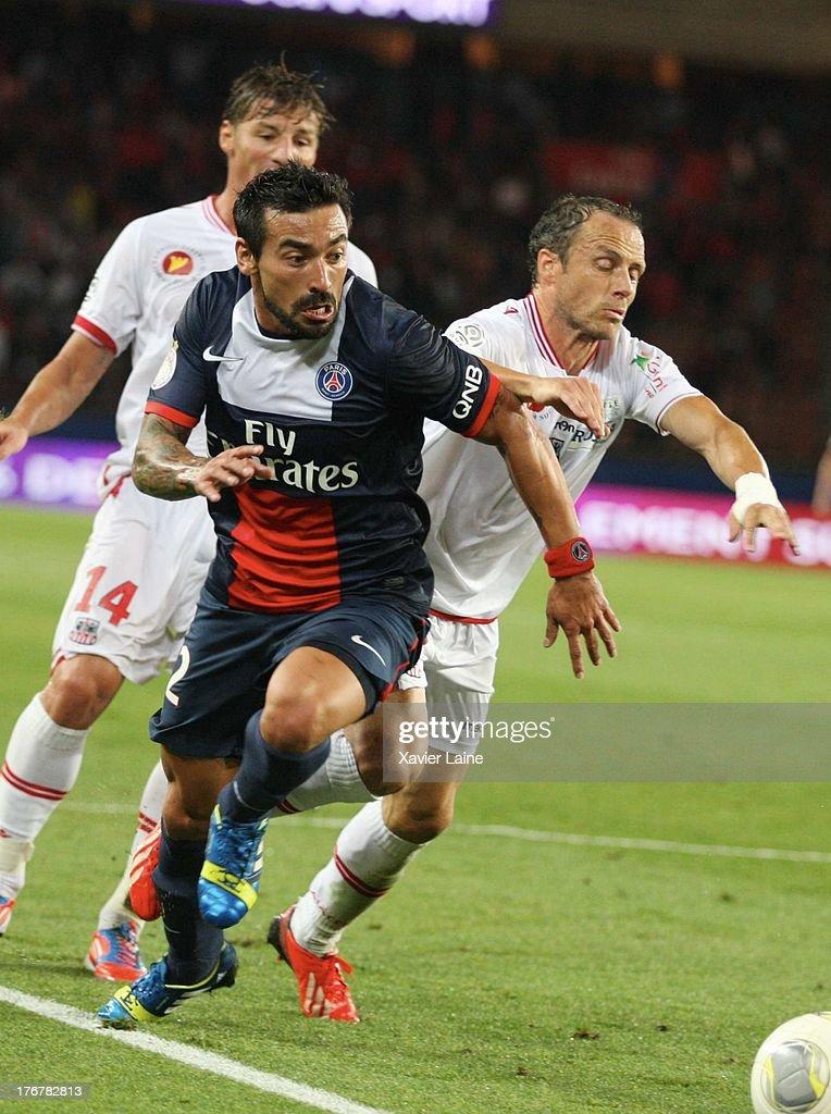 Ezequiel Lavezzi of Paris Saint-Germain in action during the French League 1 between Paris Saint-Germain FC and AC Ajaccio, at Parc des Princes on August 18, 2013 in Paris, France.