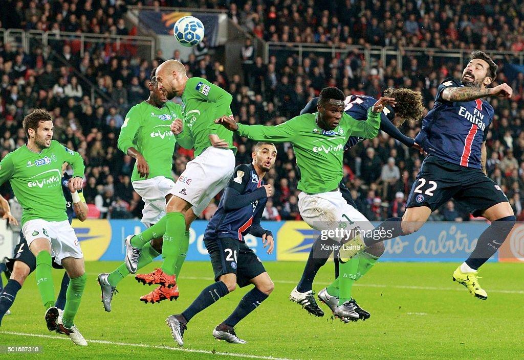 Ezequiel Lavezzi of Paris Saint-Germain kick the ball over the defence of AS Saint Etienne during the French League Cup between Paris Saint-Germain and AS Saint Etienne at Parc Des Princes on december 16, 2015 in Paris, France.