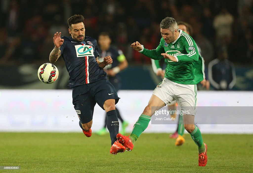 <a gi-track='captionPersonalityLinkClicked' href=/galleries/search?phrase=Ezequiel+Lavezzi&family=editorial&specificpeople=5451126 ng-click='$event.stopPropagation()'>Ezequiel Lavezzi</a> of PSG and <a gi-track='captionPersonalityLinkClicked' href=/galleries/search?phrase=Fabien+Lemoine&family=editorial&specificpeople=4784581 ng-click='$event.stopPropagation()'>Fabien Lemoine</a> of Saint-Etienne in action during the French Cup semi-final match between Paris Saint-Germain FC (PSG) and AS Saint-Etienne (ASSE) at Parc des Princes stadium on April 8, 2015 in Paris, France.
