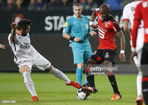 Ezequiel Lavezzi of PSG and Yacouba Sylla of Rennes in action during the French Ligue 1 match between Stade Rennais and Paris SaintGermain at Roazhon...