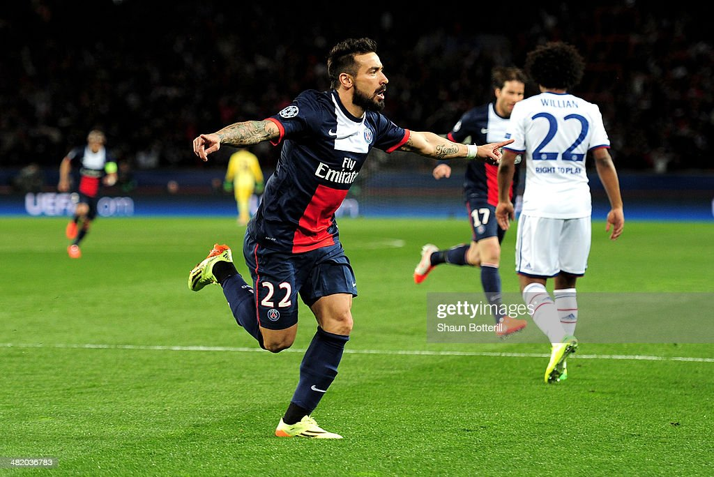 <a gi-track='captionPersonalityLinkClicked' href=/galleries/search?phrase=Ezequiel+Lavezzi&family=editorial&specificpeople=5451126 ng-click='$event.stopPropagation()'>Ezequiel Lavezzi</a> of PSG celebrates after scoring the opening goal during the UEFA Champions League quarter final, first leg match between Paris Saint Germain and Chelsea at Parc des Princes on April 2, 2014 in Paris, France.