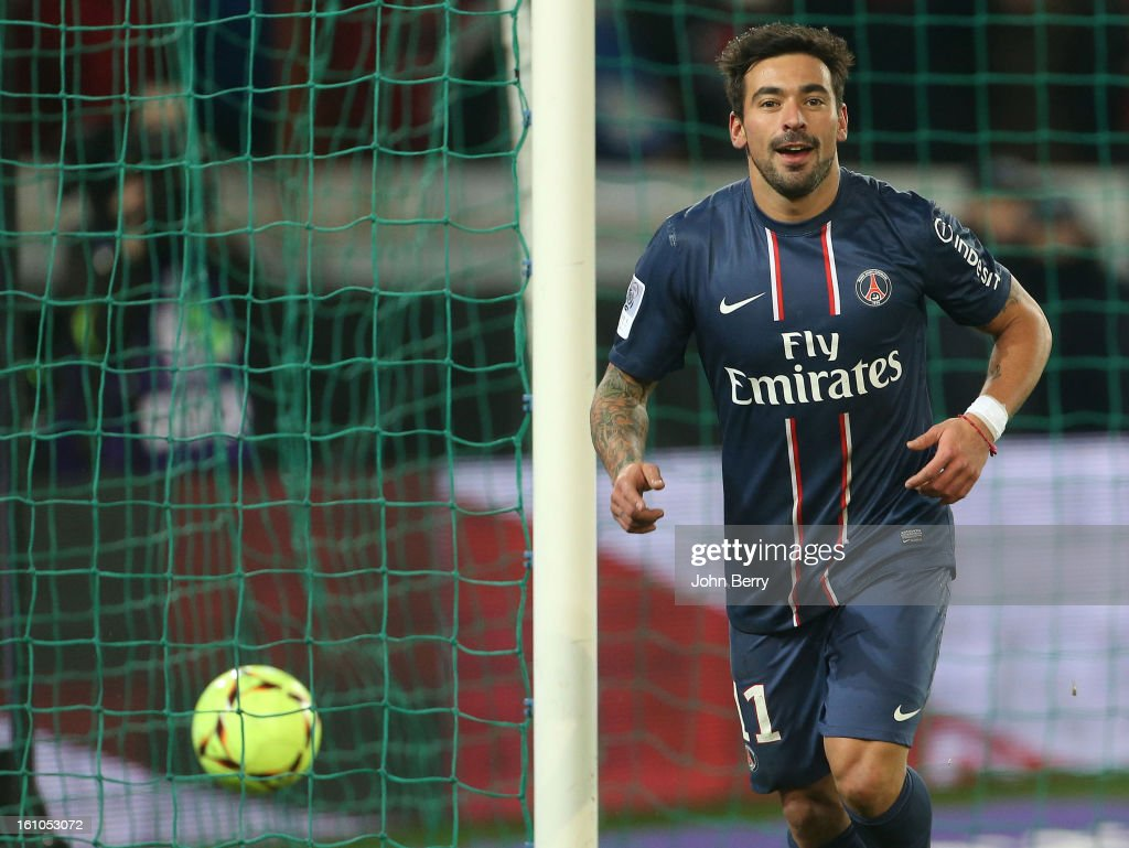 <a gi-track='captionPersonalityLinkClicked' href=/galleries/search?phrase=Ezequiel+Lavezzi&family=editorial&specificpeople=5451126 ng-click='$event.stopPropagation()'>Ezequiel Lavezzi</a> of PSG celebrates his goal during the French Ligue 1 match between Paris Saint Germain FC and Sporting Club de Bastia at the Parc des Princes stadium on February 8, 2013 in Paris, France.