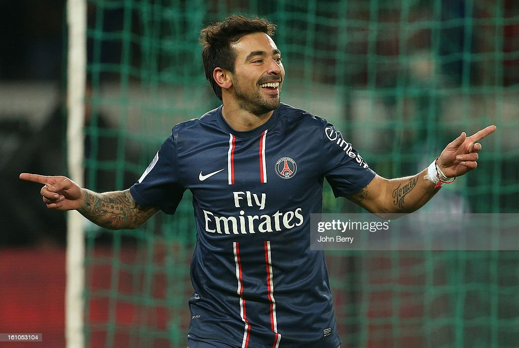 Ezequiel Lavezzi of PSG celebrates his goal during the French Ligue 1 match between Paris Saint Germain FC and Sporting Club de Bastia at the Parc...