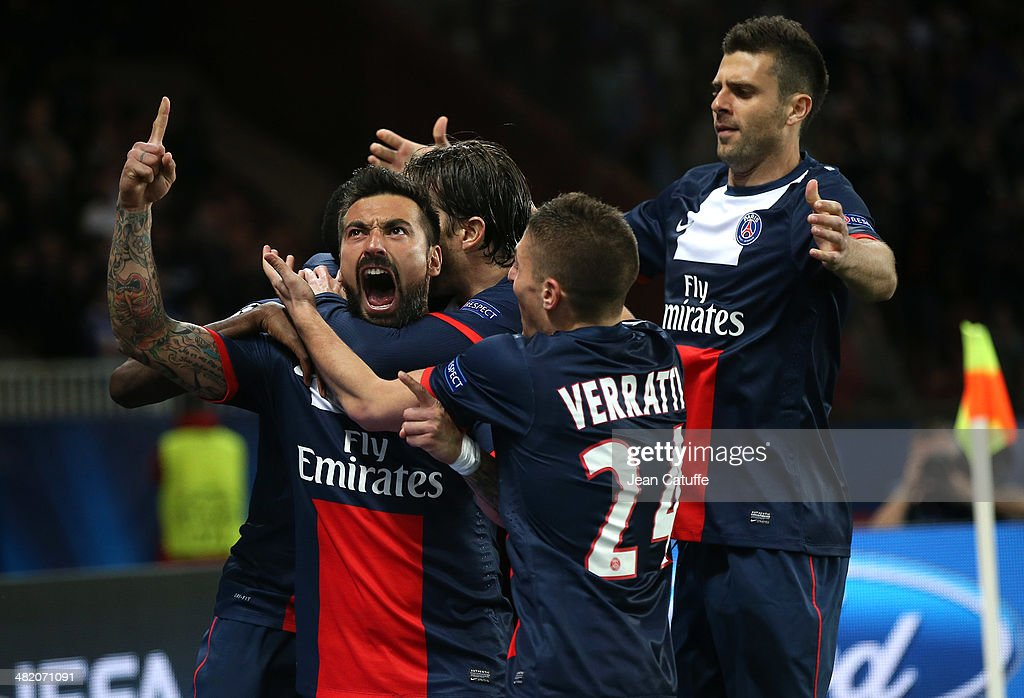 <a gi-track='captionPersonalityLinkClicked' href=/galleries/search?phrase=Ezequiel+Lavezzi&family=editorial&specificpeople=5451126 ng-click='$event.stopPropagation()'>Ezequiel Lavezzi</a> of PSG celebrates his goal with teammate <a gi-track='captionPersonalityLinkClicked' href=/galleries/search?phrase=Marco+Verratti&family=editorial&specificpeople=7256509 ng-click='$event.stopPropagation()'>Marco Verratti</a>, <a gi-track='captionPersonalityLinkClicked' href=/galleries/search?phrase=Thiago+Motta+-+Brazilian+Soccer+Player+-+Born+1982&family=editorial&specificpeople=631059 ng-click='$event.stopPropagation()'>Thiago Motta</a> of PSG during the UEFA Champions League quarter final match between Paris Saint-Germain FC and Chelsea FC at Parc des Princes stadium on April 2, 2014 in Paris, France.