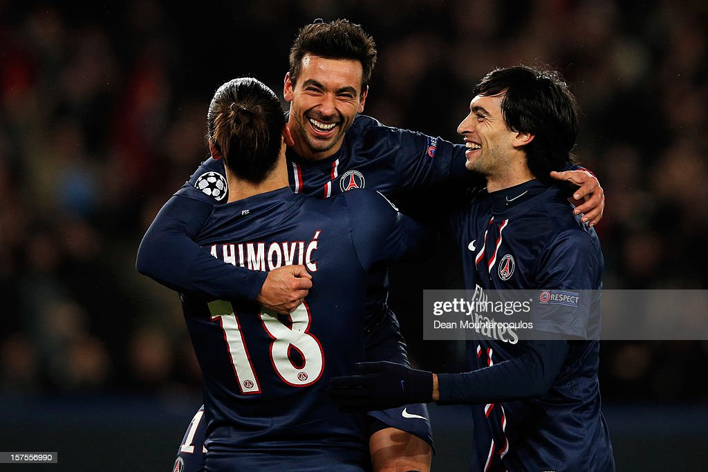 Ezequiel Lavezzi (C) of PSG celebrates scoring his teams second goal of the game with team mates Zlatan Ibrahimovic and Javier Pastore during the Group A UEFA Champions League match between Paris Saint-Germain FC and FC Porto at Parc des Princes on December 4, 2012 in Paris, France.