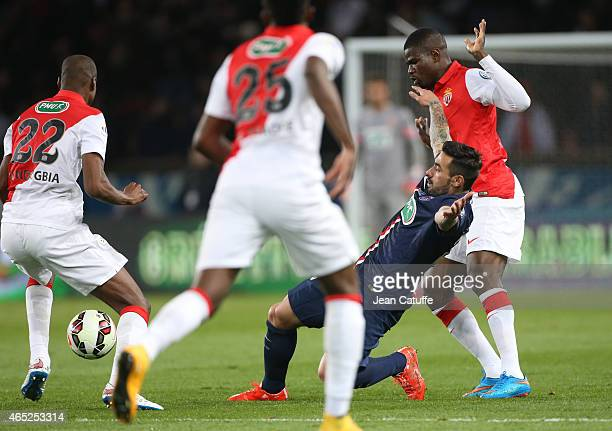 Ezequiel Lavezzi of PSG in action during the French Cup match between Paris SaintGermain FC and AS Monaco FC at Parc des Princes stadium on March 4...