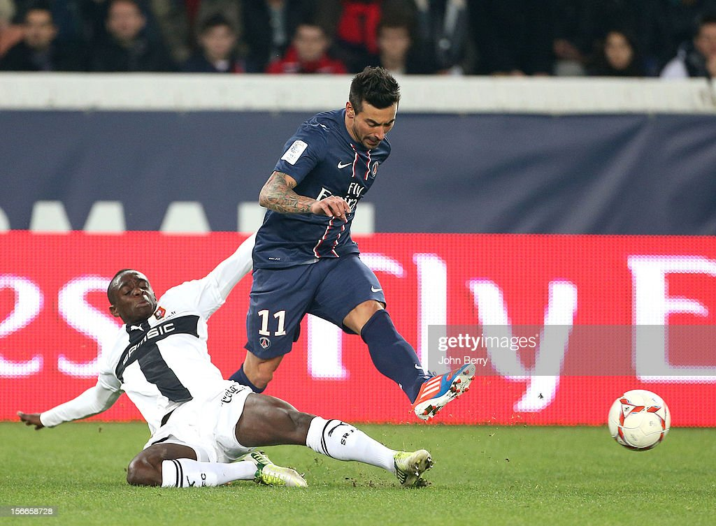 <a gi-track='captionPersonalityLinkClicked' href=/galleries/search?phrase=Ezequiel+Lavezzi&family=editorial&specificpeople=5451126 ng-click='$event.stopPropagation()'>Ezequiel Lavezzi</a> of PSG in action during the french Ligue 1 match between Paris Saint Germain FC and Stade Rennais FC at the Parc des Princes stadium on November 17, 2012 in Paris, France.