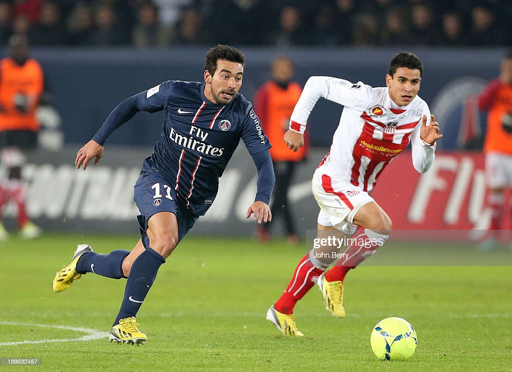 Ezequiel Lavezzi of PSG in action during the French Ligue 1 match between Paris Saint Germain FC and AC Ajaccio at the Parc des Princes stadium on January 11, 2013 in Paris, France.