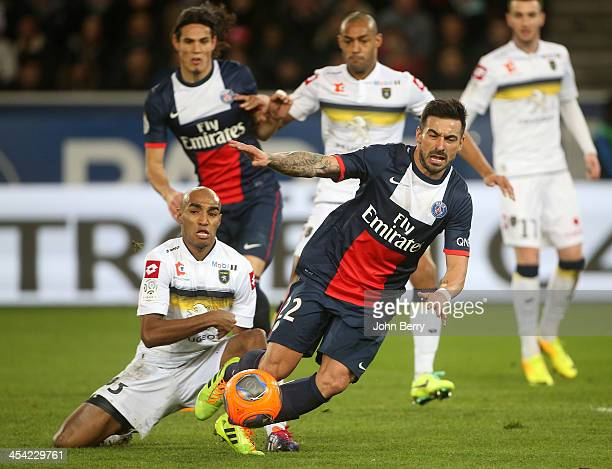 Ezequiel Lavezzi of PSG in action during the french Ligue 1 match between Paris SaintGermain FC and FC Sochaux Montbeliard at the Parc des Princes...