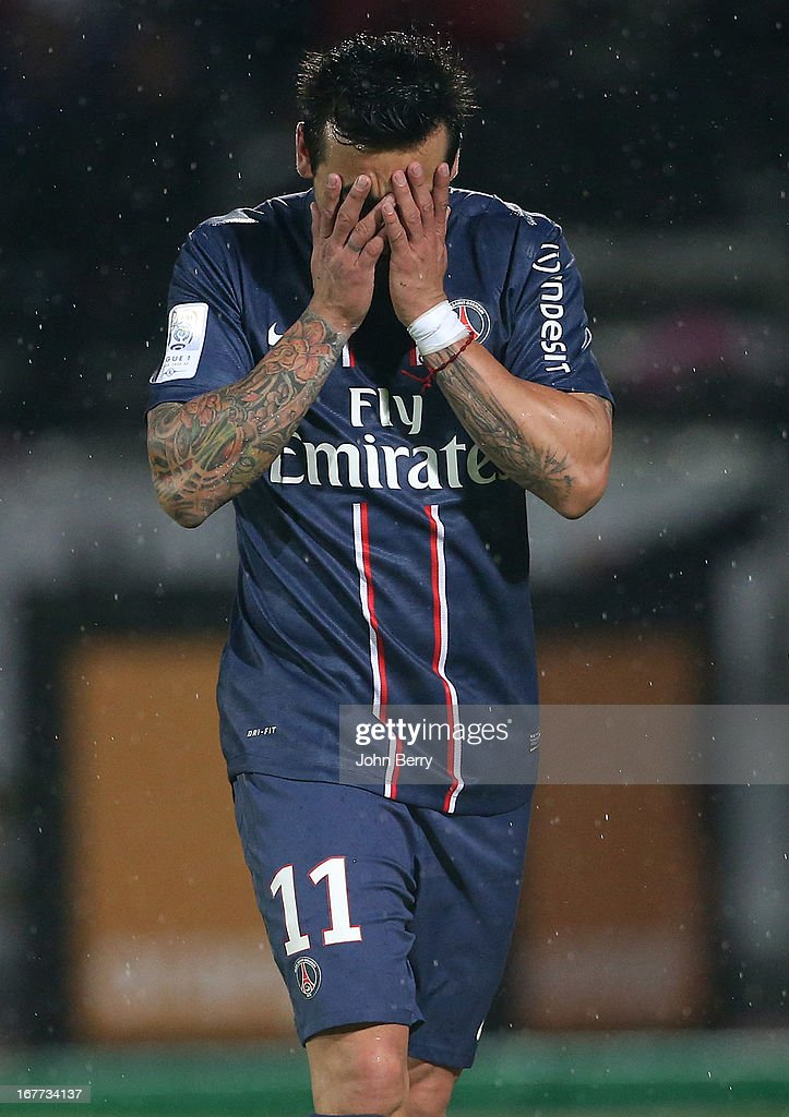 Ezequiel Lavezzi of PSG is upset after missing an easy goal during the Ligue 1 match between Evian Thonon Gaillard FC, ETG, and Paris Saint Germain FC, PSG, at the Parc des Sports d'Annecy on April 28, 2013 in Annecy, France.