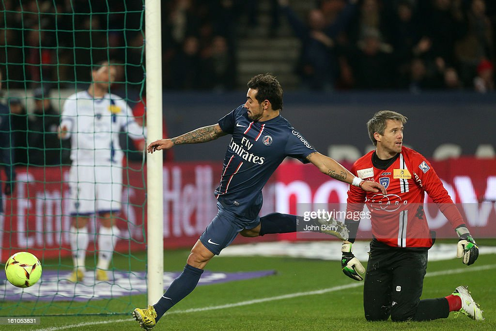 <a gi-track='captionPersonalityLinkClicked' href=/galleries/search?phrase=Ezequiel+Lavezzi&family=editorial&specificpeople=5451126 ng-click='$event.stopPropagation()'>Ezequiel Lavezzi</a> of PSG scores a goal during the French Ligue 1 match between Paris Saint Germain FC and Sporting Club de Bastia at the Parc des Princes stadium on February 8, 2013 in Paris, France.