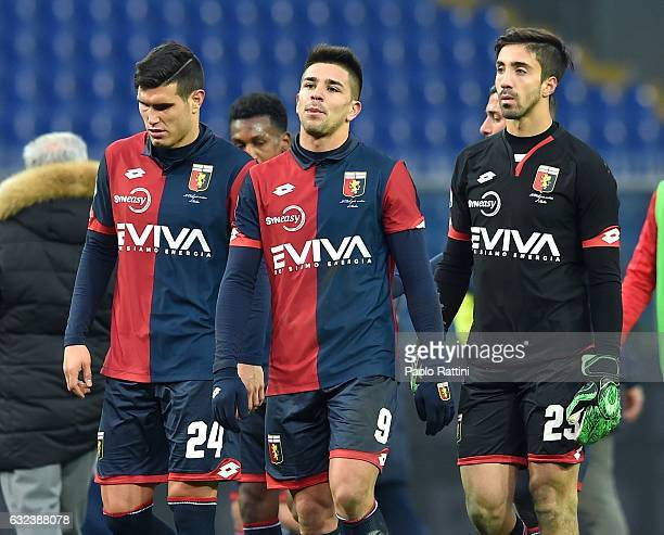 Ezequiel Matias Munoz Giovanni Pablo Simeone and Eugenio Lamanna of Genoa's disappointment after the Serie A match between Genoa CFC and FC Crotone...
