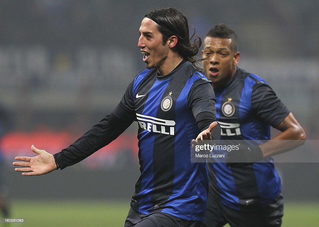 Ezequiel Matias Schelotto of FC Internazionale Milano celebrates his goal during the Serie A match FC Internazionale Milano and AC Milan at San Siro Stadium on February 24, 2013 in Milan, Italy.