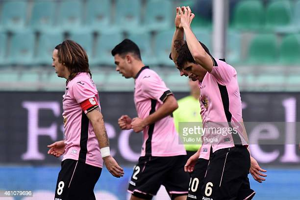 Ezequiel Munoz of Palermo celebrates after scoring his team's second goal during the Serie A match between US Citta di Palermo and Cagliari Calcio at...