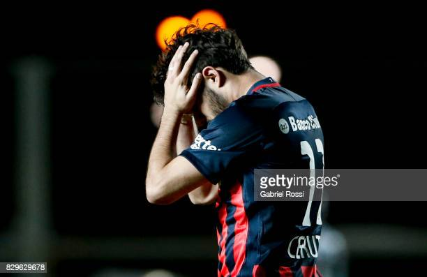 Ezequiel Osvaldo Cerutti of San Lorenzo reacts during a second leg match between San Lorenzo and Emelec as part of round of 16 of Copa CONMEBOL...
