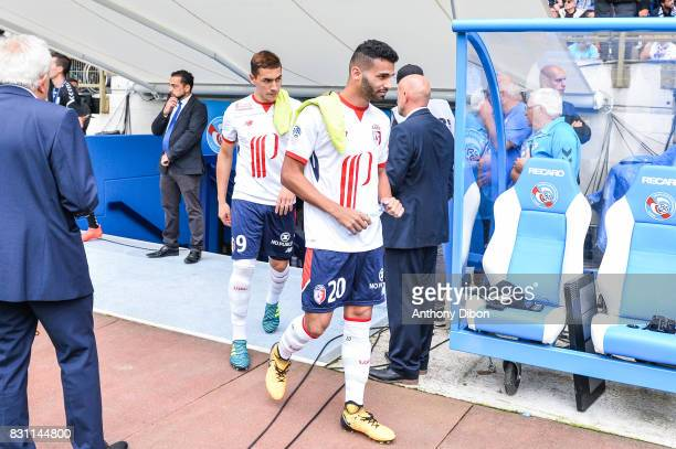 Ezequiel Ponce Martinez and Thiago Maia of Lille during the Ligue 1 match between Racing Club Strasbourg and Lille OSC at Stade de la Meinau on...