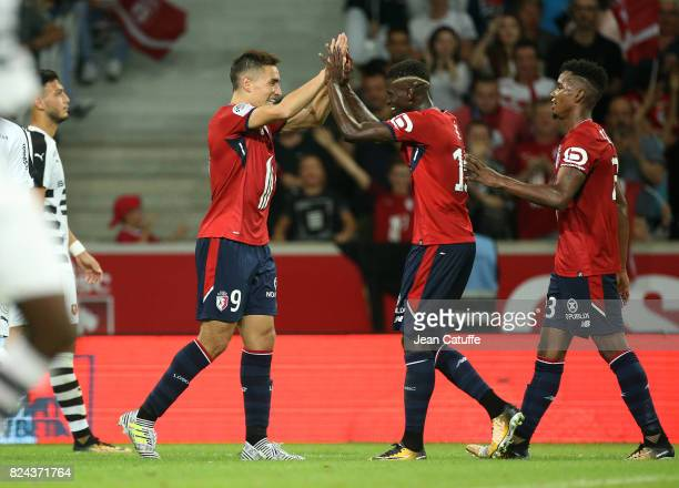 Ezequiel Ponce of Lille celebrates his goal with Edgar Ie Thiago Mendes during the preseason friendly match between Lille OSC and Stade Rennais FC at...