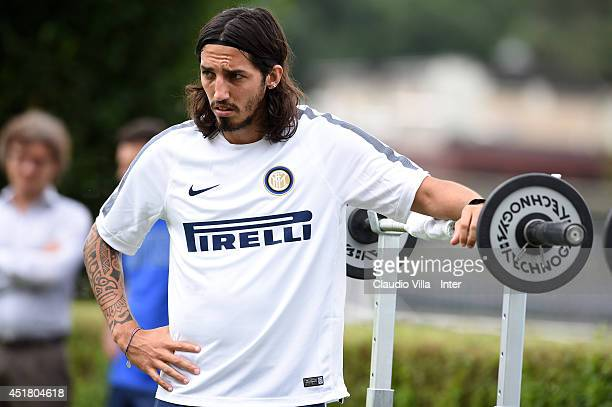 Ezequiel Schelotto during of FC Internazionale Milano training session at Appiano Gentile on July 7 2014 in Como Italy