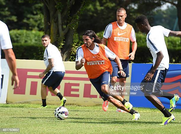 Ezequiel Schelotto in action during of FC Internazionale Milano training session at Appiano Gentile on July 6 2014 in Como Italy
