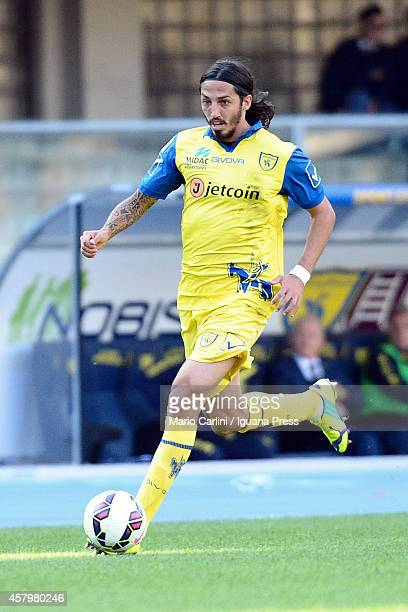 Ezequiel Schelotto of AC Chievo Verona in action during the Serie A match between AC Chievo Verona and Genoa CFC at Stadio Marc'Antonio Bentegodi on...